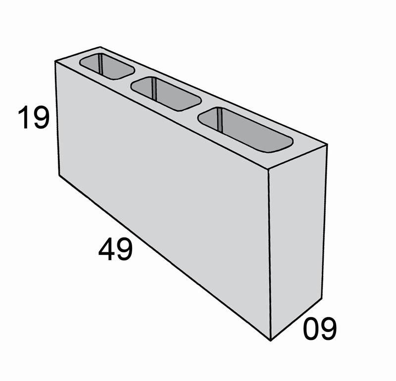 Blocos de concreto - Bloco 09-19-49 - Inova Concreto