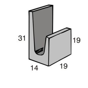Blocos de concreto - Canaleta J 14-19-19-31 - Inova Concreto